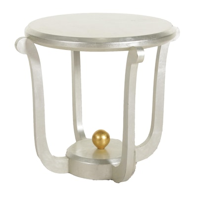Silver and Gold Painted Side Table, Late 20th Century