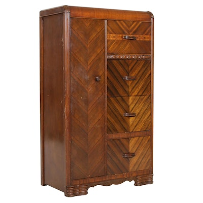 Art Deco Waterfall Tiger Maple Armoire, 1940s