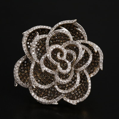 18K 7.40 CTW Diamond Openwork Flower Converter Brooch