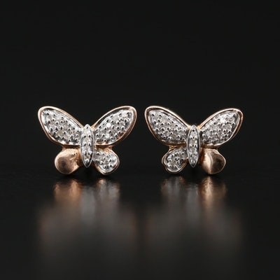 Sterling Silver Diamond Butterfly Stud Earrings
