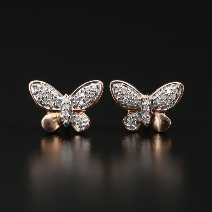 Sterling Silver Diamond Butterfly Stud Earrings