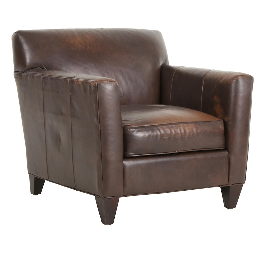 Crate & Barrel Brown Leather Club Chair, Late 20th Century