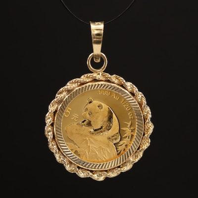 10K Pendant with 1999 China 5-Yuan Gold Panda Bullion Coin
