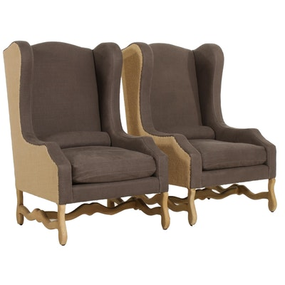 "Restoration Hardware ""Os de Mouton"" Wingback Armchairs in Canvas and Burlap"