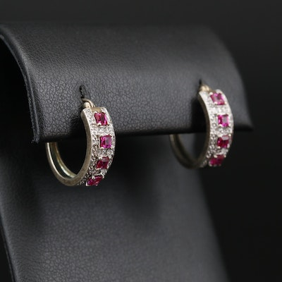 Sterling Silver Ruby and Diamond Hoop Earrings