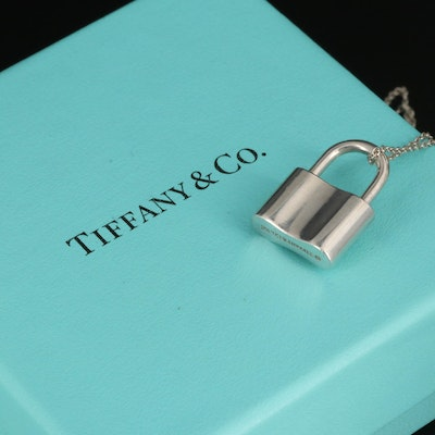 "Tiffany & Co. ""1837"" Sterling Padlock Pendant on Elsa Peretti Chain"