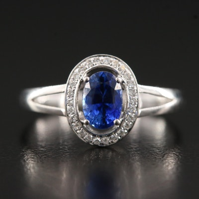 18K Sapphire Ring with Diamond Halo