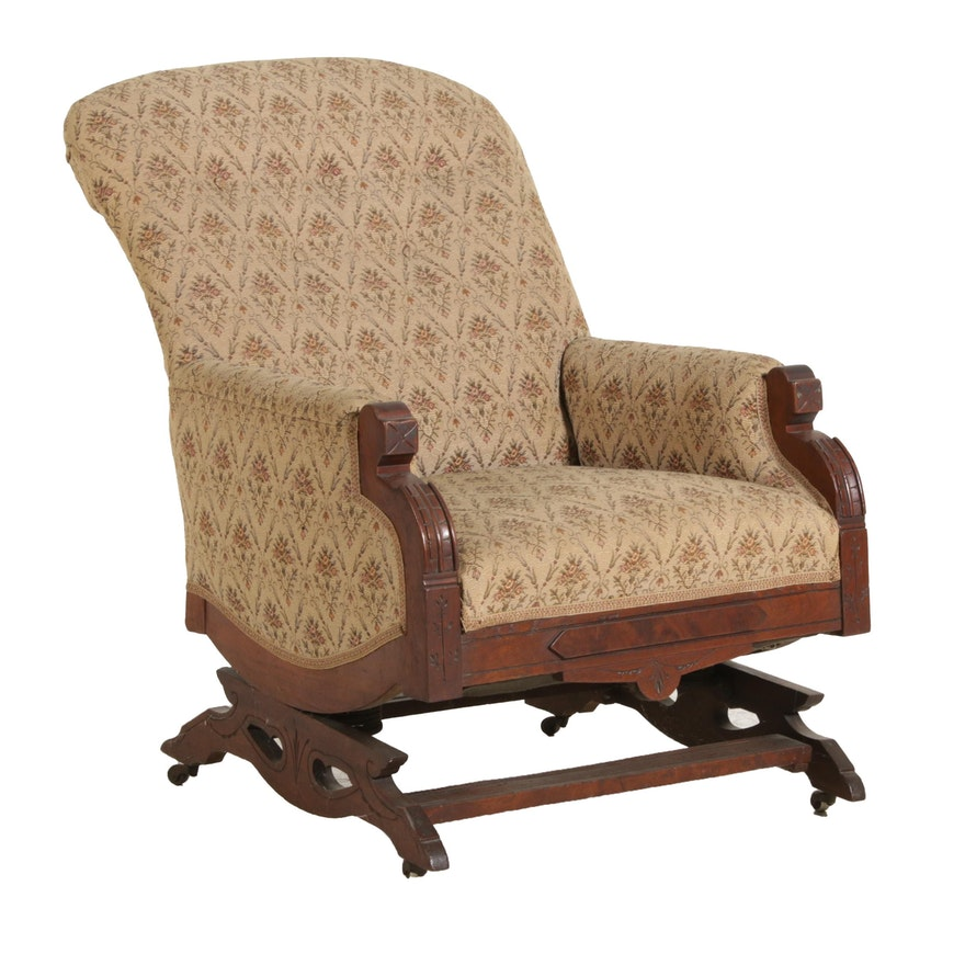 Victorian Eastlake Walnut Rocking Chair, Early 20th Century