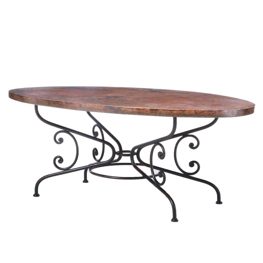 """Arhaus """"Arabesque"""" Copper and Metal Dining Table"""