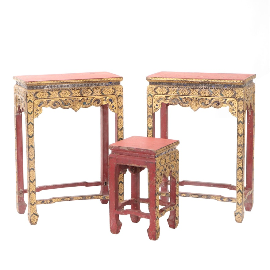 Thai Mandalay Style Gilt and Glass Embellished Wood Side Tables