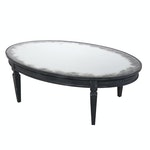 Arhaus Neoclassical Style Ebonized and Mirrored Glass Top Coffee Table