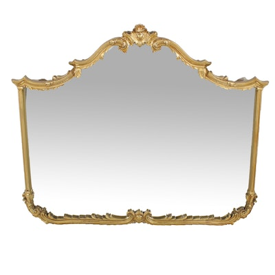 Large Neoclassical Gold Toned Wall Mirror, Late 20th Century