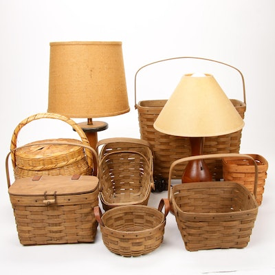 Longaberger Handwoven Baskets and Hand-Carved Lamps, Late 20th Century