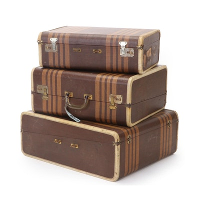 Brown Striped Leatherette Three-Piece Luggage Set, Mid-20th Century