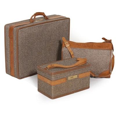 Hartmann Luggage Tweed and Leather Trim Three-Piece Set with Combination Locks