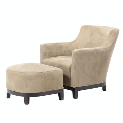 Contemporary Upholstered Arm Chair with Ottoman
