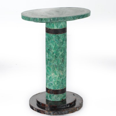 Crackled Effect Resin Pedestal Center Table