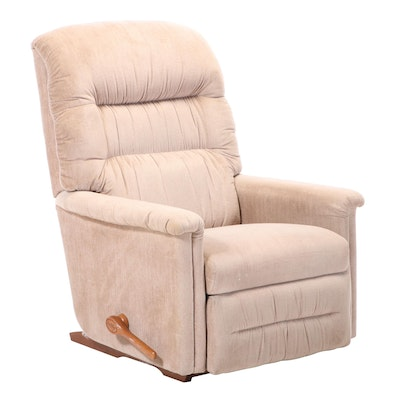 Pillow Back Upholstered Reclining Rocking Arm Chair, Late 20th Century