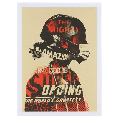 """Offset Lithograph Poster after Tes One """"Masked Crusader"""", 2020"""