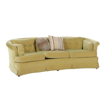 Henredon Velour Upholstered Curved Sofa, Mid to Late 20th Century