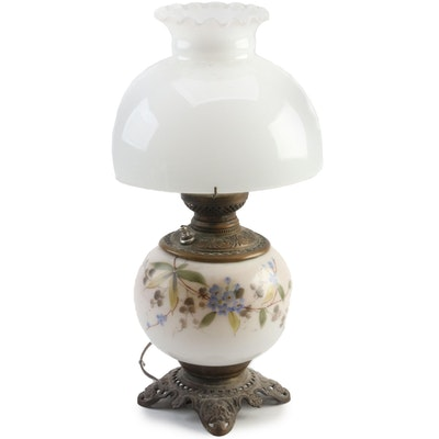 Victorian Converted Kerosene Glass Lamp