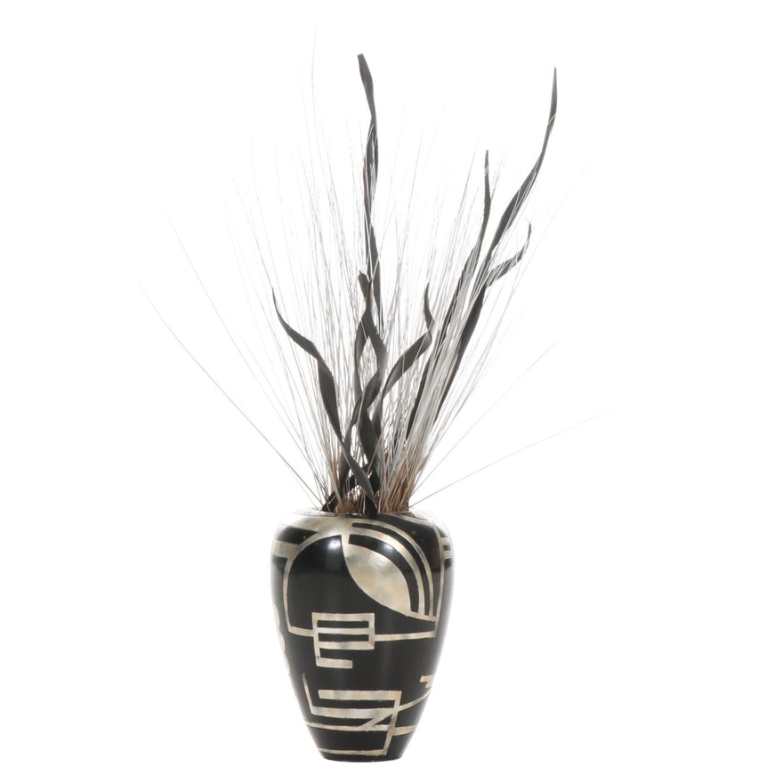 Black and Gold Painted Ceramic Floor Vase with Artificial Plants