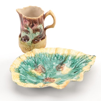 Griffen, Smith and Hill Etruscan Majolica Leaf Dish with Other Majolica Pitcher