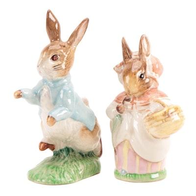 "F. Warne & Co. Beatirx Potter ""Peter Rabbit"" and ""Mrs. Rabbit"" Figurines"