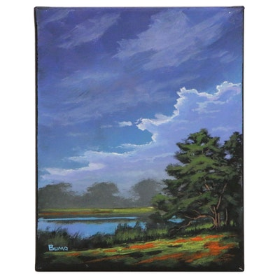 """Douglas """"Bumo"""" Johnpeer Landscape Oil Painting """"Flower Field"""", 2020"""
