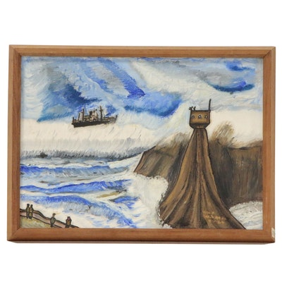 Alexander Maldonado Oil Painting of Stylized Seascape, 1964