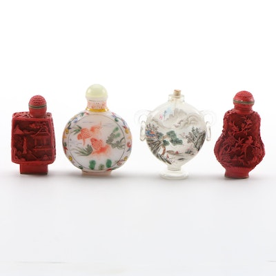 Chinese Faux Cinnabar and Painted Glass Snuff Bottles