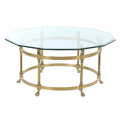 La Barge Style Brass and Glass Top Swan Motif Coffee Table, Late 20th Century