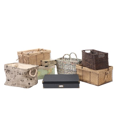 Handled Rattan, Chicken Wire With Burlap, Cloth Covered Baskets and Boxes