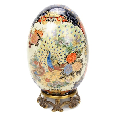 Chinese Satsuma Style Ceramic Egg on Brass Stand