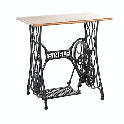 Oak Work Table on Iron Singer Sewing Machine Base