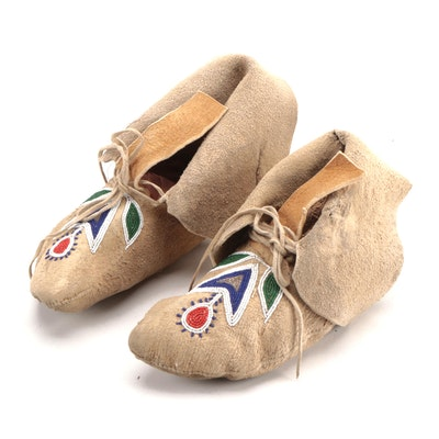Plains Hand Stitched Moccasins with Glass Bead Work, Vintage