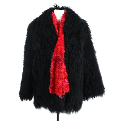 Black Tibetan Lamb Fur Coat with Red Knit Scarf, Vintage