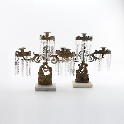 Victorian Cast Brass and Marble Girandoles with Cut Glass Prisms