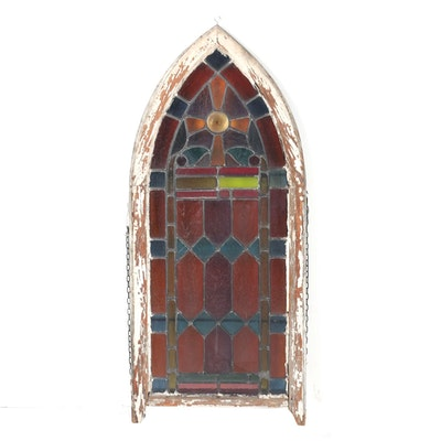 Arched Stained Glass Window with Bottle Bottom Rosette