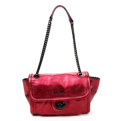 Coach Ranger Satchel with Chain Strap in Red Metallic Leather