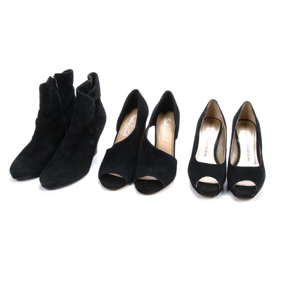 Sasha London, Splendid and Other Black Suede Peep-Toe Heels and Ankle Boots