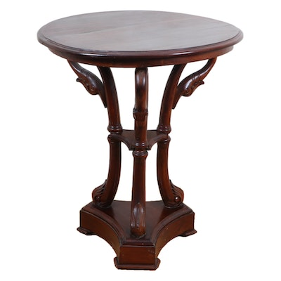 Swan Neck Mahogany Accent Table, Late 20th Century