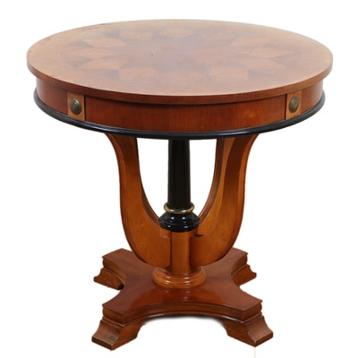 Biedermeier Style Parquetry and Parcel-Ebonized Side Table, Mid to Late 20th C.