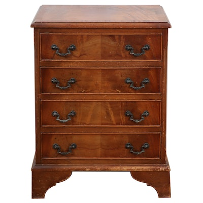 George III Style Flame Mahogany Four-Drawer Bedside Chest, 20th Century