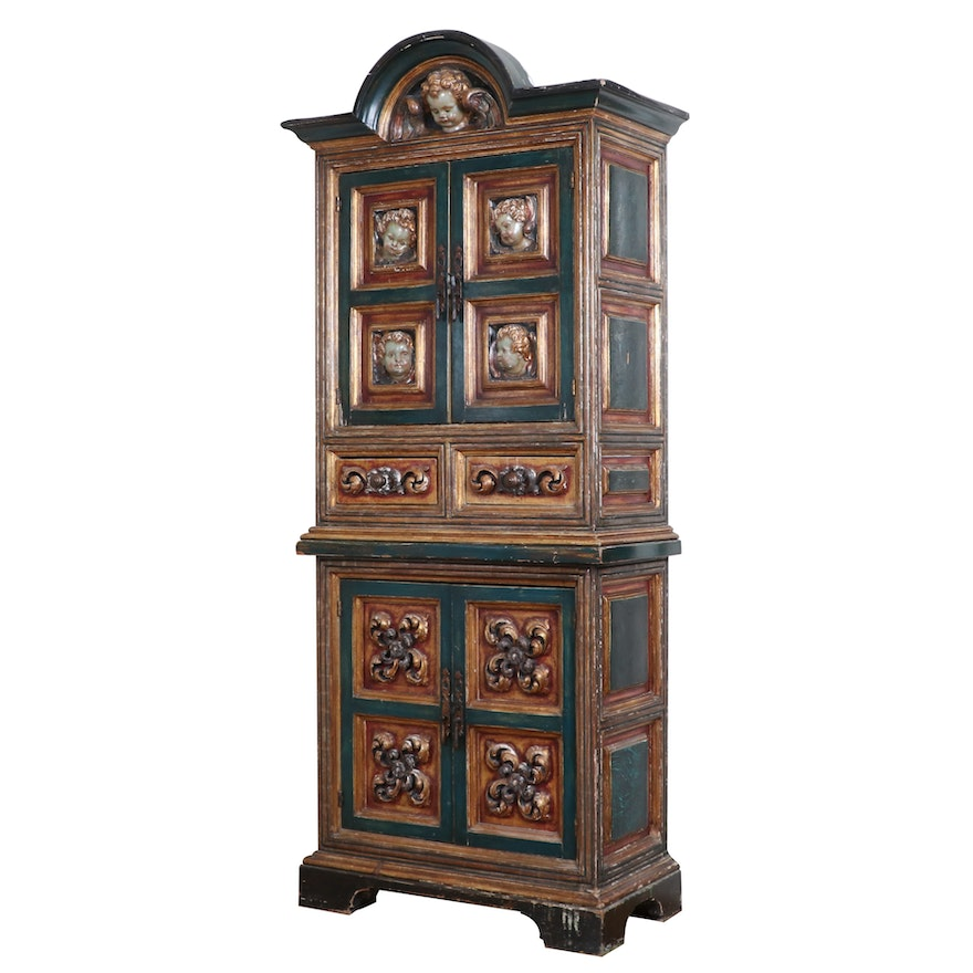 Spanish Baroque Paint-Decorated, Ebonized and Parcel-Gilt Cabinet