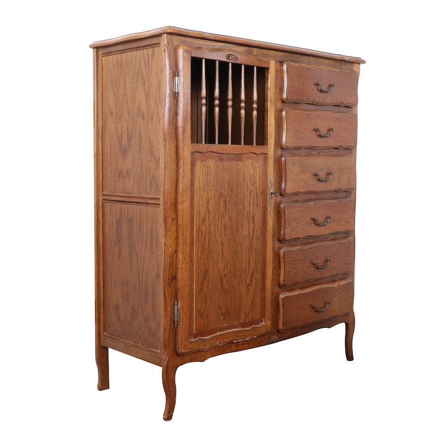 French Provincial Style Oak Chifferrobe, Mid-20th Century