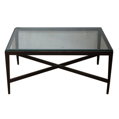 Contemporary Glass and Ebonized Metal Coffee Table