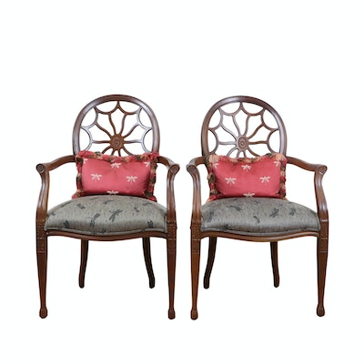 Pair of Flexsteel Spider Web-Back Armchairs, Late 20th Century
