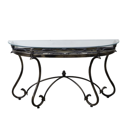 Scrolling Iron and Glass Demilune Console Table, Late 20th Century