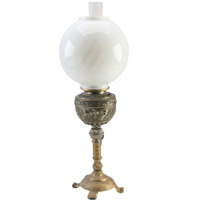 Converted Banquet Oil Lamp with Milk Glass Globe, Late 19th-Early 20th Century